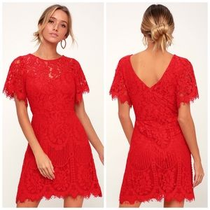 NWT Lulus Pearson Red Lace Dress